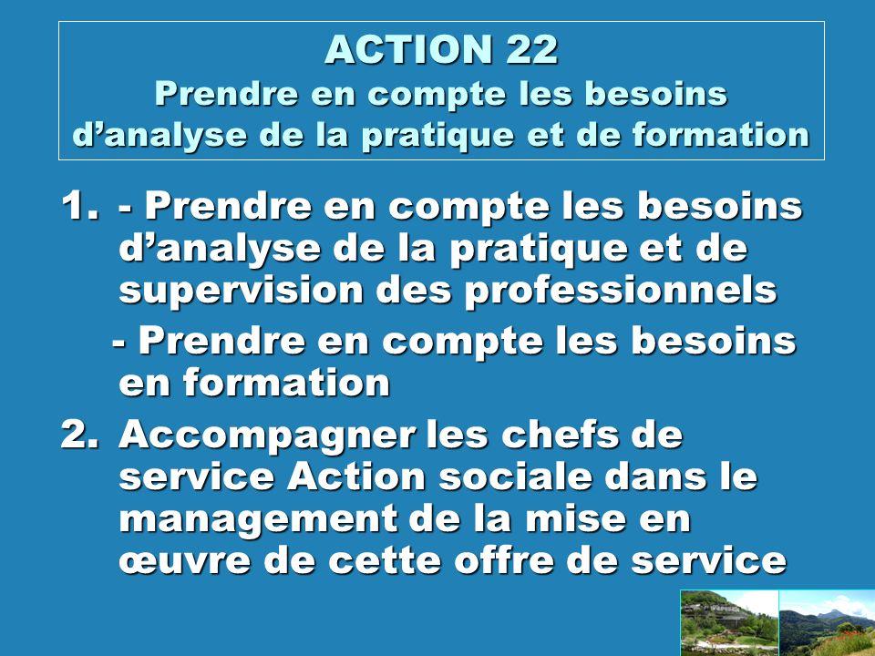 ACTION 22 Prendre en compte les besoins danalyse de la pratique et de formation 1.- Prendre en compte les besoins danalyse de la pratique et de supervision des professionnels - Prendre en compte les besoins en formation - Prendre en compte les besoins en formation 2.Accompagner les chefs de service Action sociale dans le management de la mise en œuvre de cette offre de service
