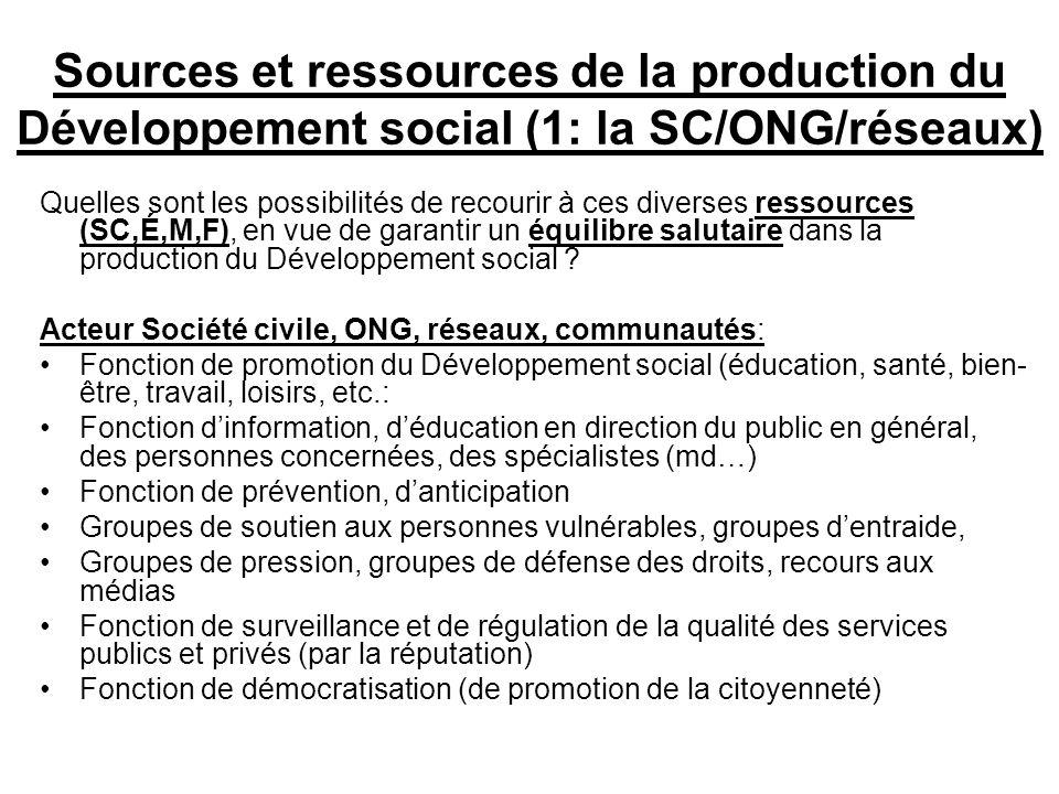 Sources et ressources de la production du Développement social (1: la SC/ONG/réseaux) Quelles sont les possibilités de recourir à ces diverses ressources (SC,É,M,F), en vue de garantir un équilibre salutaire dans la production du Développement social .