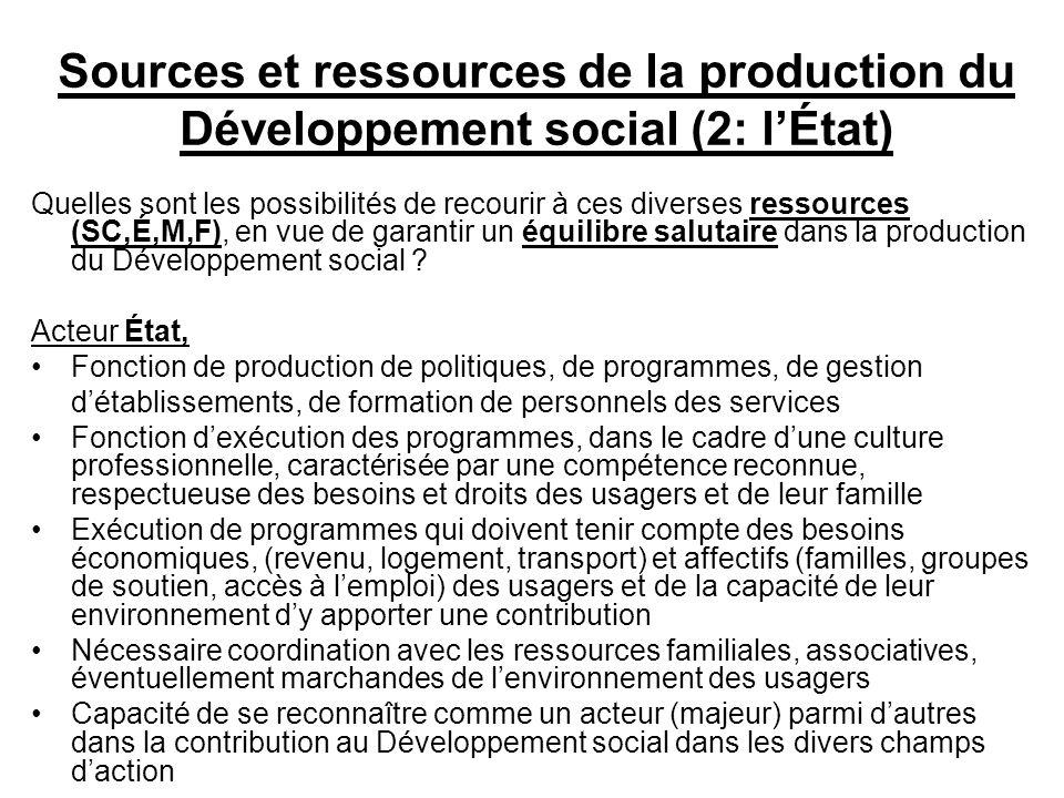 Sources et ressources de la production du Développement social (2: lÉtat) Quelles sont les possibilités de recourir à ces diverses ressources (SC,É,M,F), en vue de garantir un équilibre salutaire dans la production du Développement social .