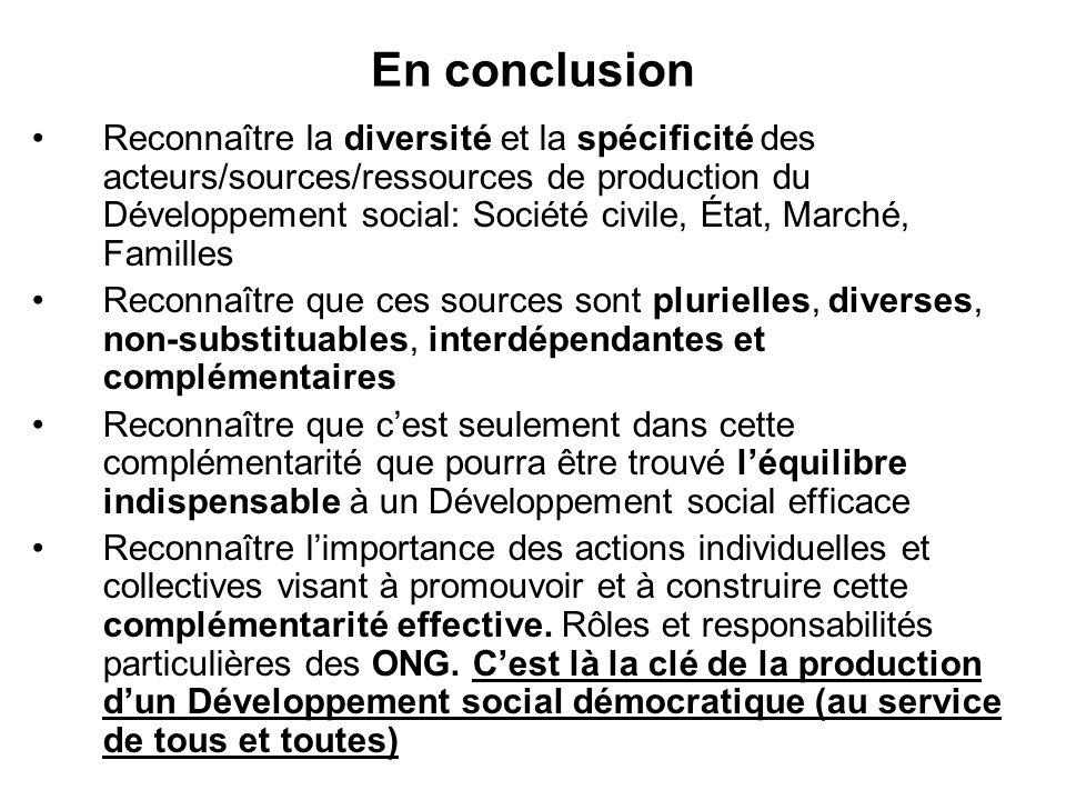En conclusion Reconnaître la diversité et la spécificité des acteurs/sources/ressources de production du Développement social: Société civile, État, M