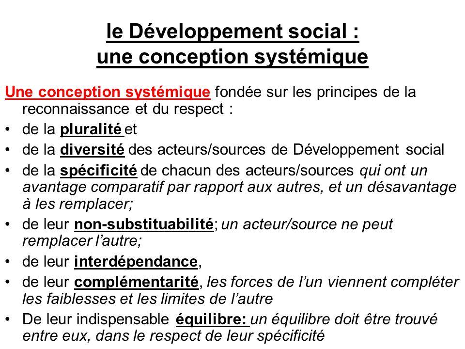 le Développement social : une conception systémique Une conception systémique fondée sur les principes de la reconnaissance et du respect : de la plur