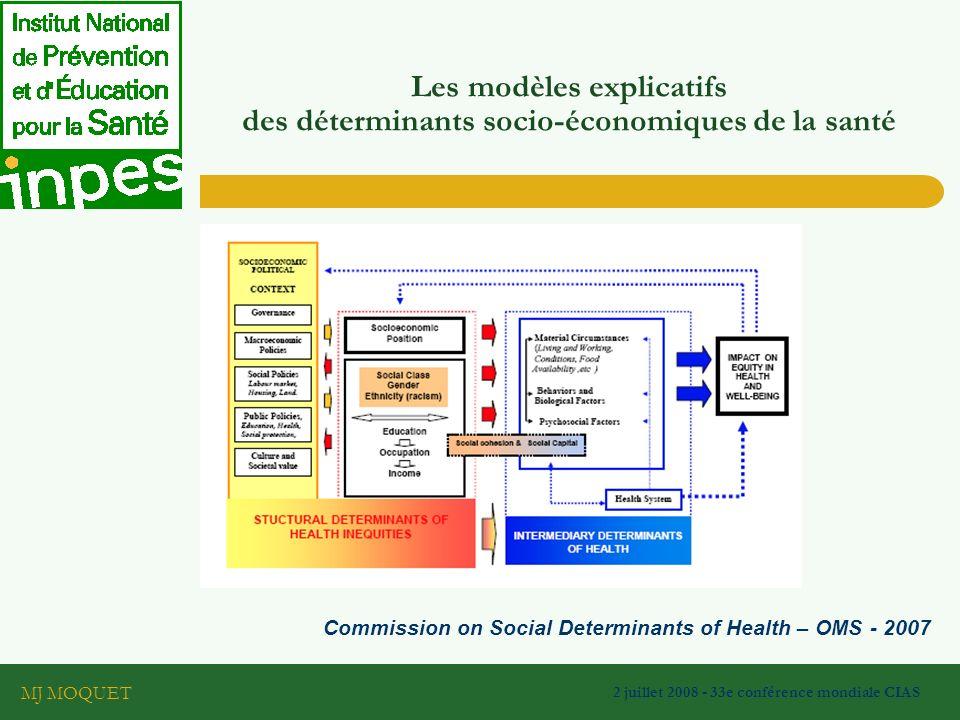 MJ MOQUET 2 juillet 2008 - 33e conférence mondiale CIAS Commission on Social Determinants of Health – OMS - 2007 Les modèles explicatifs des déterminants socio-économiques de la santé