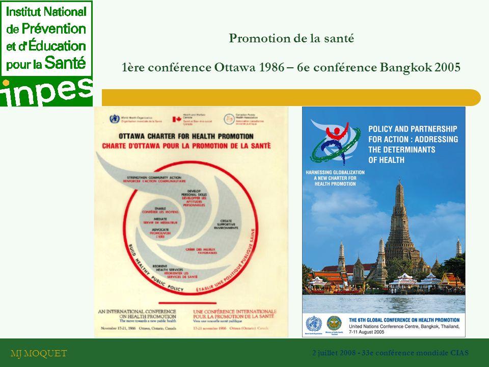 MJ MOQUET 2 juillet 2008 - 33e conférence mondiale CIAS Promotion de la santé 1ère conférence Ottawa 1986 – 6e conférence Bangkok 2005