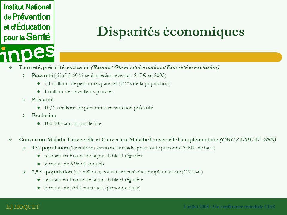 MJ MOQUET 2 juillet 2008 - 33e conférence mondiale CIAS Disparités économiques Pauvreté, précarité, exclusion (Rapport Observatoire national Pauvreté et exclusion) Pauvreté (si inf.