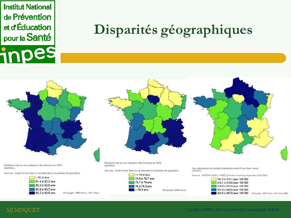 MJ MOQUET 2 juillet 2008 - 33e conférence mondiale CIAS Disparités géographiques