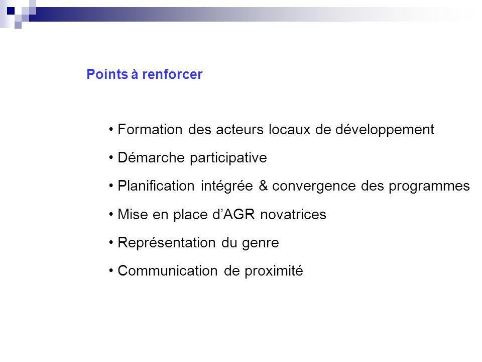 Formation des acteurs locaux de développement Démarche participative Planification intégrée & convergence des programmes Mise en place dAGR novatrices Représentation du genre Communication de proximité Points à renforcer