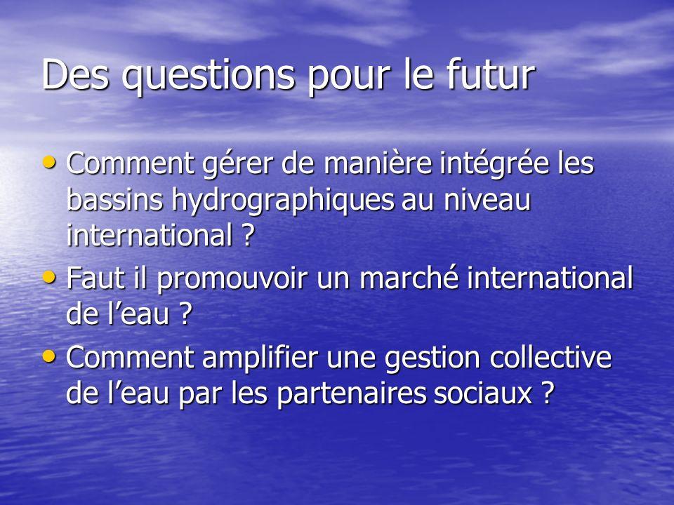 Des questions pour le futur Comment gérer de manière intégrée les bassins hydrographiques au niveau international .