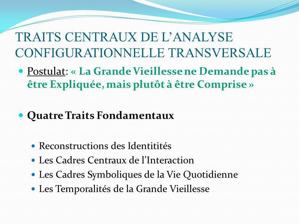 TRAITS CENTRAUX DE LANALYSE CONFIGURATIONNELLE TRANSVERSALE Postulat: « La Grande Vieillesse ne Demande pas à être Expliquée, mais plutôt à être Compr