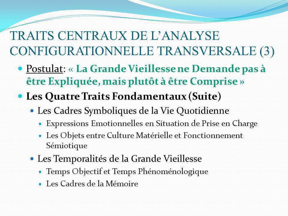 TRAITS CENTRAUX DE LANALYSE CONFIGURATIONNELLE TRANSVERSALE (3) Postulat: « La Grande Vieillesse ne Demande pas à être Expliquée, mais plutôt à être C