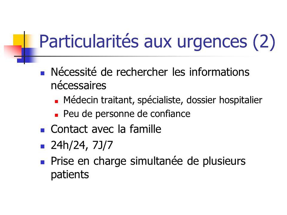 Particularités aux urgences (2) Nécessité de rechercher les informations nécessaires Médecin traitant, spécialiste, dossier hospitalier Peu de personn