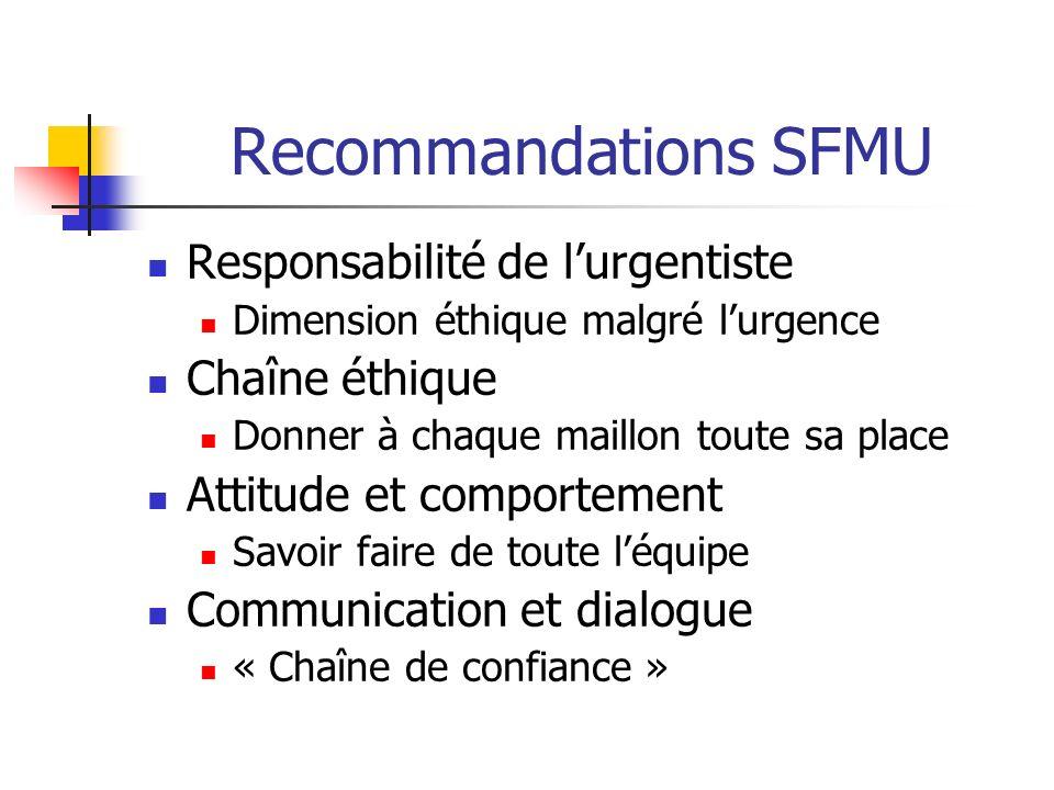 Recommandations SFMU Responsabilité de lurgentiste Dimension éthique malgré lurgence Chaîne éthique Donner à chaque maillon toute sa place Attitude et