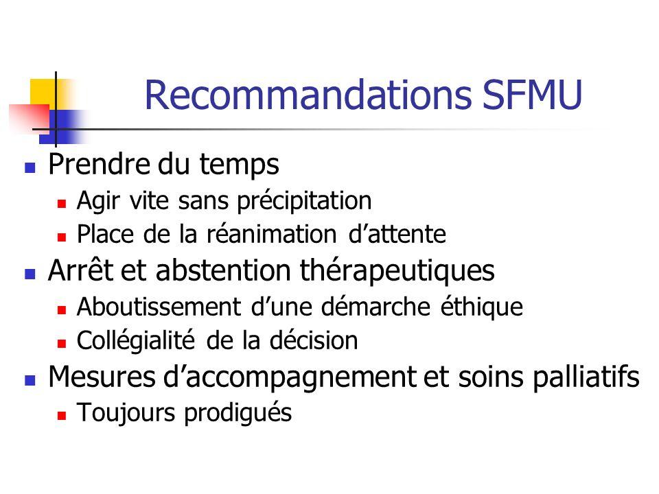 Recommandations SFMU Prendre du temps Agir vite sans précipitation Place de la réanimation dattente Arrêt et abstention thérapeutiques Aboutissement d