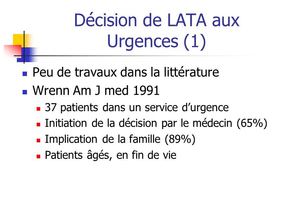 Décision de LATA aux Urgences (1) Peu de travaux dans la littérature Wrenn Am J med 1991 37 patients dans un service durgence Initiation de la décisio