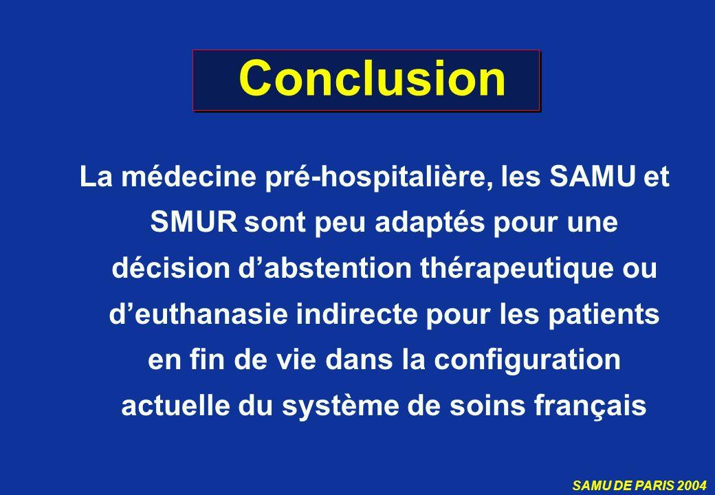 SAMU DE PARIS 2004 Conclusion La médecine pré-hospitalière, les SAMU et SMUR sont peu adaptés pour une décision dabstention thérapeutique ou deuthanas