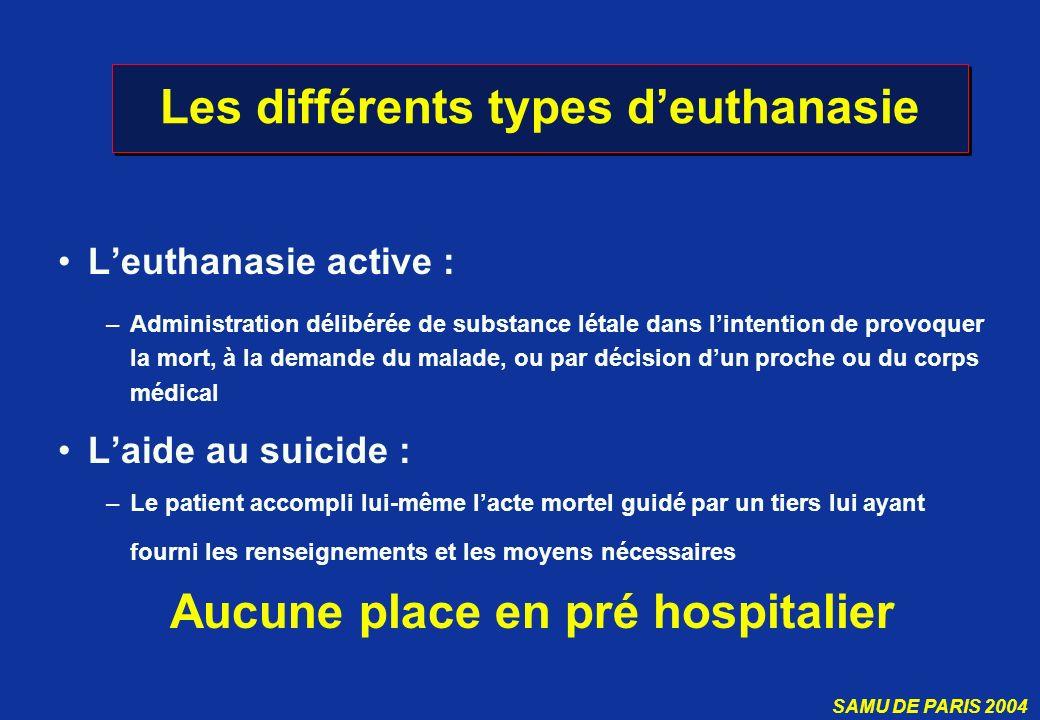 SAMU DE PARIS 2004 Les différents types deuthanasie Leuthanasie active : –Administration délibérée de substance létale dans lintention de provoquer la