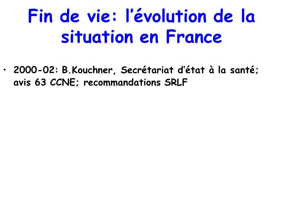 Fin de vie: lévolution de la situation en France 2000-02: B.Kouchner, Secrétariat détat à la santé; avis 63 CCNE; recommandations SRLF