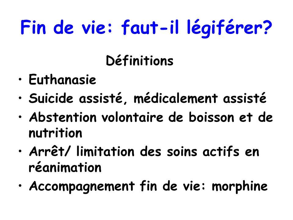 Fin de vie: faut-il légiférer? Définitions Euthanasie Suicide assisté, médicalement assisté Abstention volontaire de boisson et de nutrition Arrêt/ li