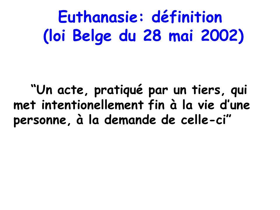 Euthanasie: définition (loi Belge du 28 mai 2002) Un acte, pratiqué par un tiers, qui met intentionellement fin à la vie dune personne, à la demande d