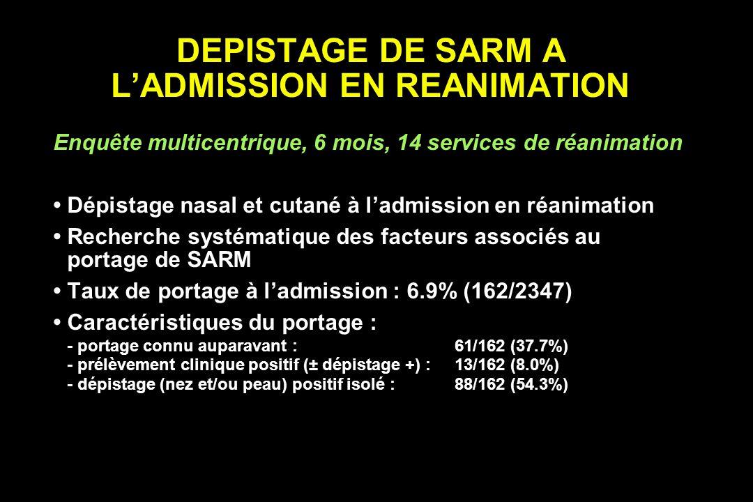DEPISTAGE DE SARM A LADMISSION EN REANIMATION Enquête multicentrique, 6 mois, 14 services de réanimation Dépistage nasal et cutané à ladmission en réa