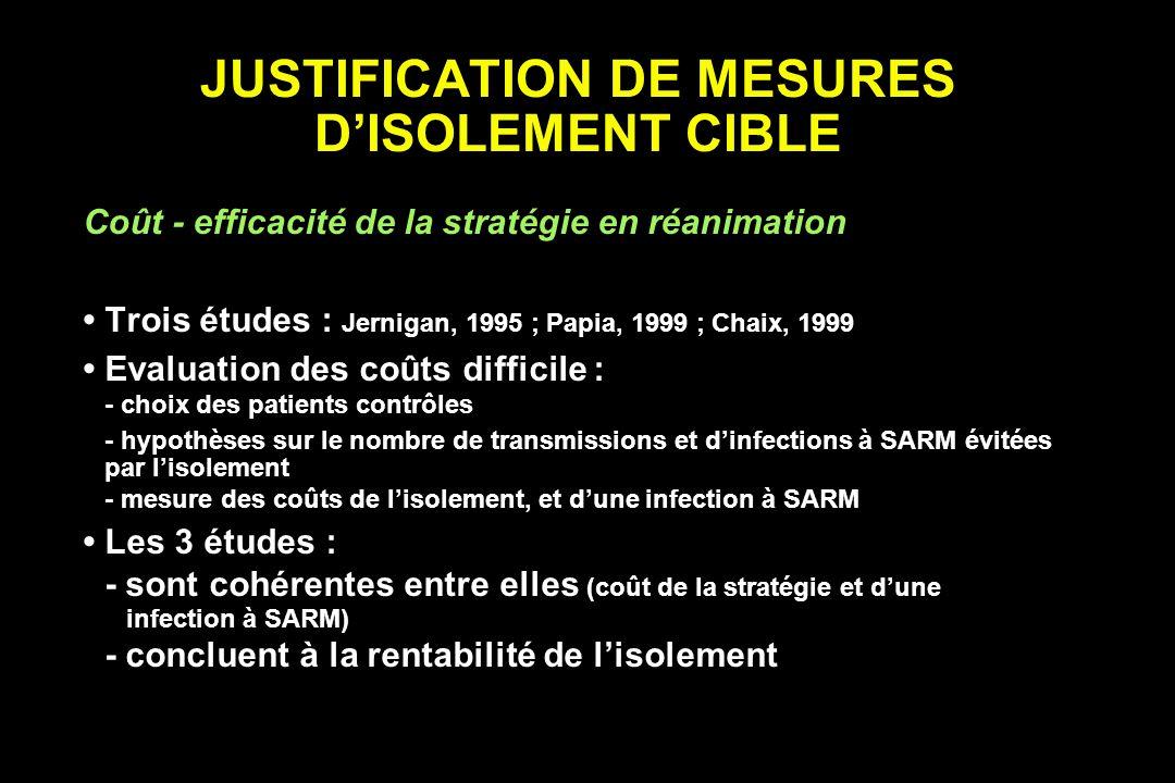 JUSTIFICATION DE MESURES DISOLEMENT CIBLE Coût - efficacité de la stratégie en réanimation Trois études : Jernigan, 1995 ; Papia, 1999 ; Chaix, 1999 E
