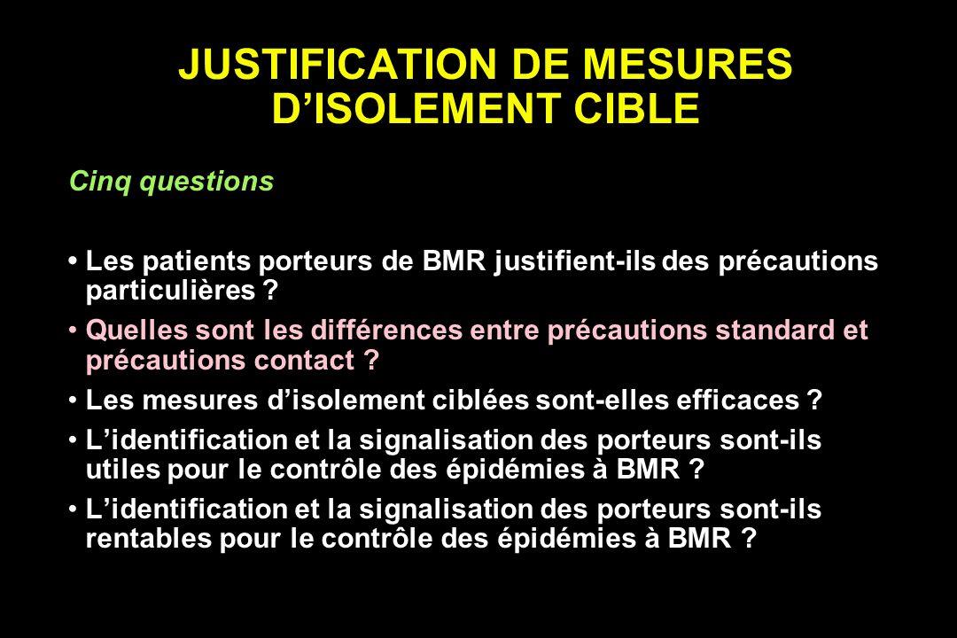 ISOLEMENT DES PATIENTS PORTEURS DE BMR Recommandations Chambre individuelle, regroupement VA HICPAC HIS/BSAC CTIN (SARM, 1993) (ERV, 1996) (SARM, 1998)(SARM, BLSE 1999) Gants- Mat.