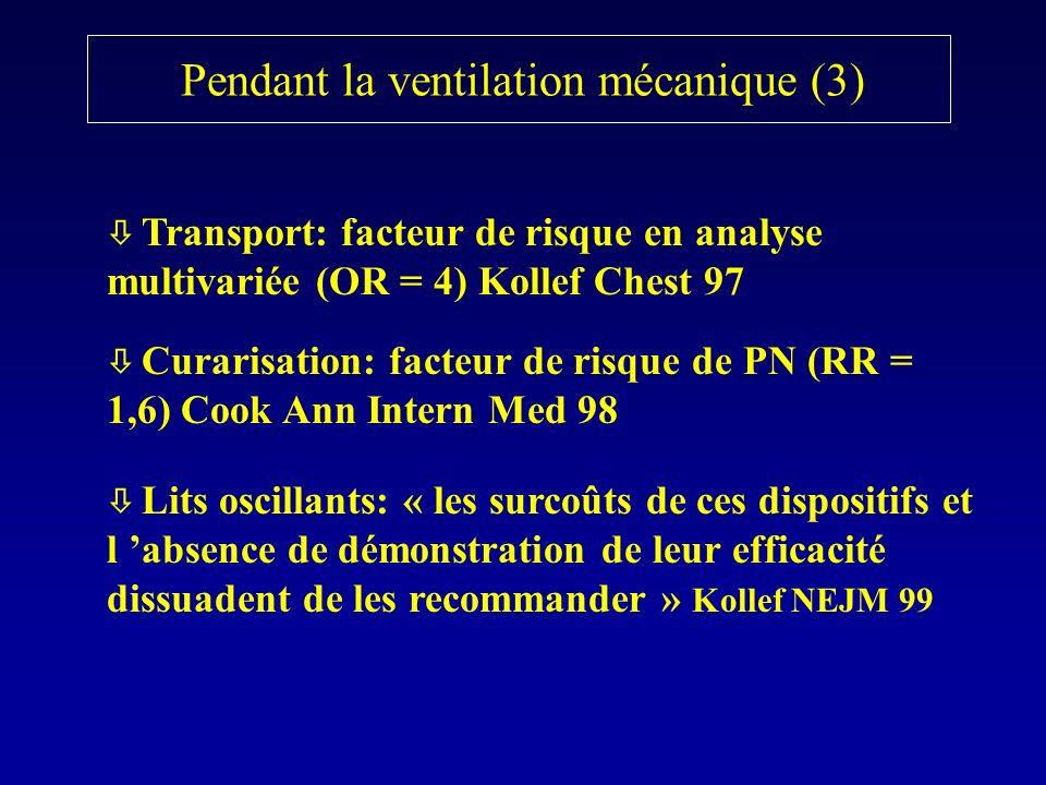 Transport: facteur de risque en analyse multivariée (OR = 4) Kollef Chest 97 Curarisation: facteur de risque de PN (RR = 1,6) Cook Ann Intern Med 98 L