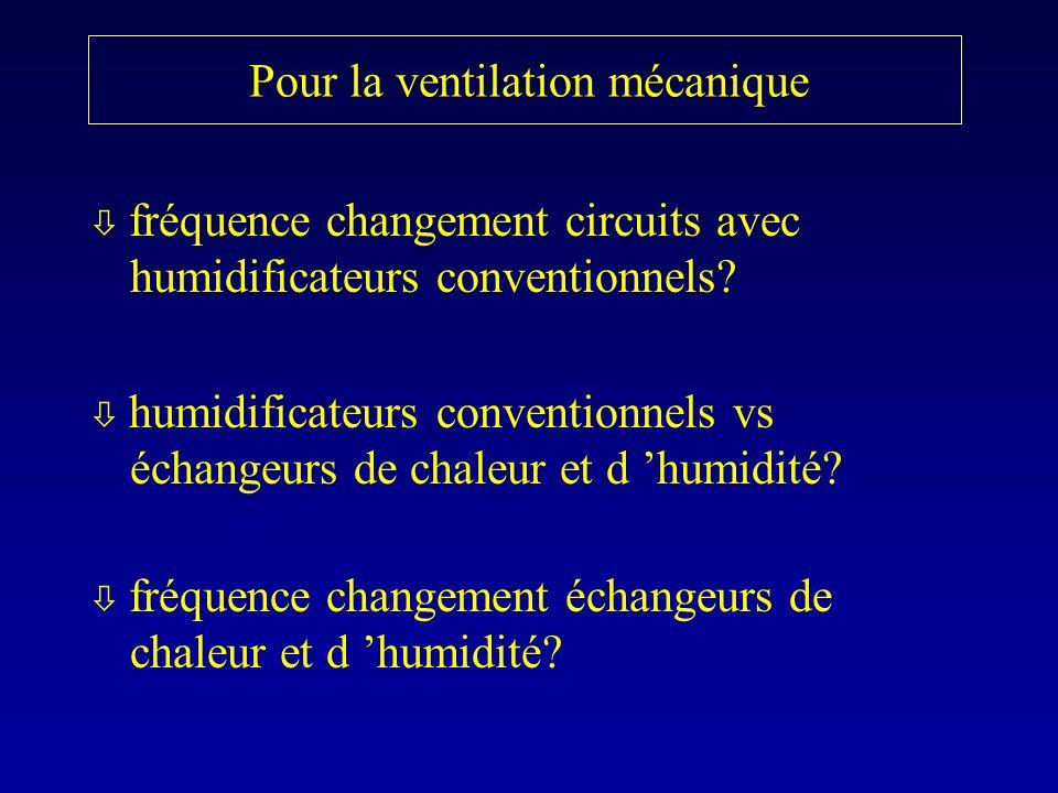 Pour la ventilation mécanique fréquence changement circuits avec humidificateurs conventionnels? humidificateurs conventionnels vs échangeurs de chale
