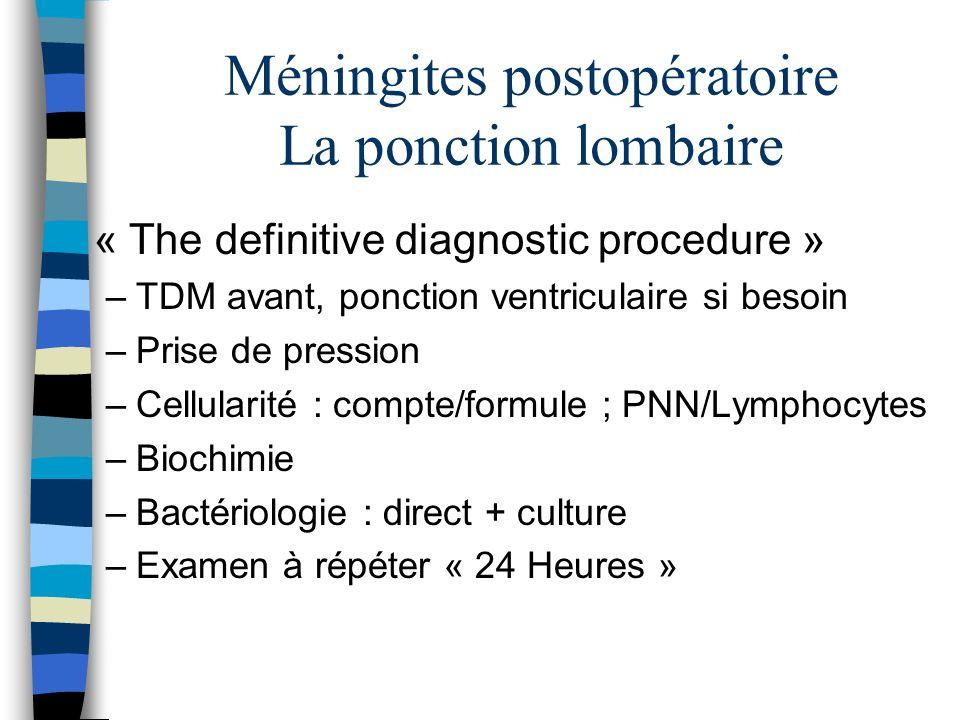 Méningites postopératoire La ponction lombaire « The definitive diagnostic procedure » –TDM avant, ponction ventriculaire si besoin –Prise de pression