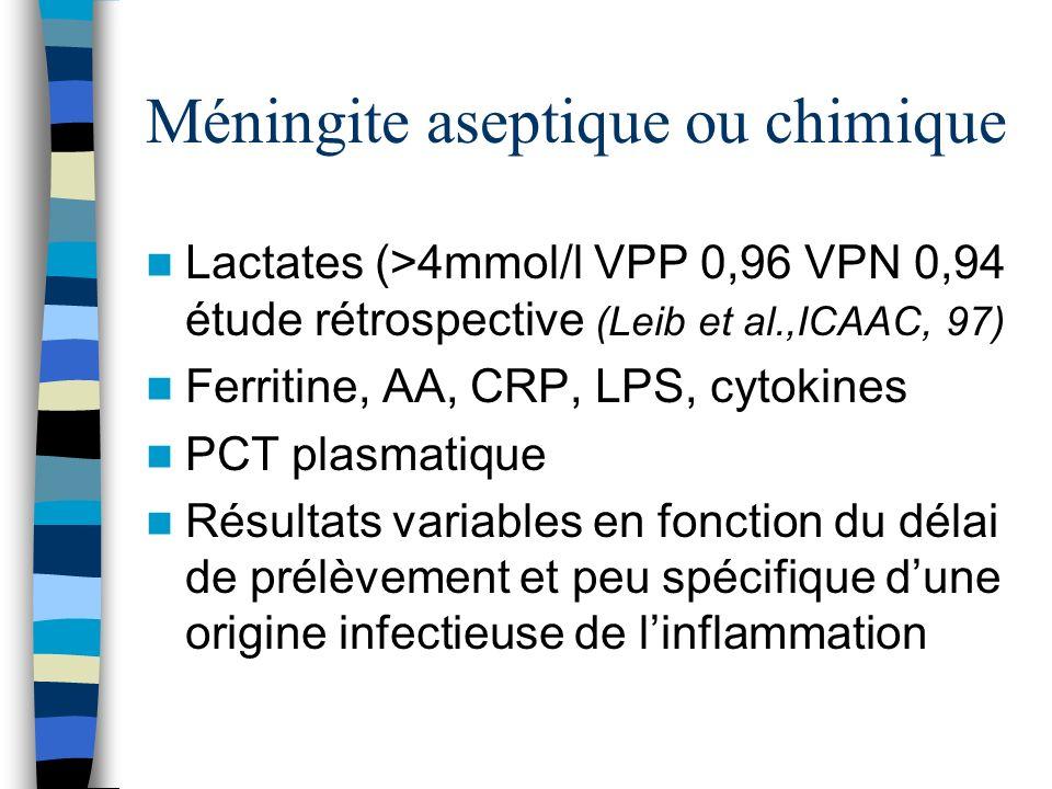 Méningite aseptique ou chimique Lactates (>4mmol/l VPP 0,96 VPN 0,94 étude rétrospective (Leib et al.,ICAAC, 97) Ferritine, AA, CRP, LPS, cytokines PC