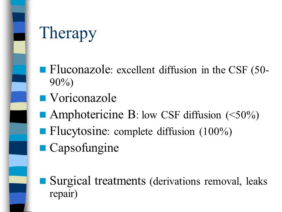 Therapy Fluconazole : excellent diffusion in the CSF (50- 90%) Voriconazole Amphotericine B : low CSF diffusion (<50%) Flucytosine : complete diffusio