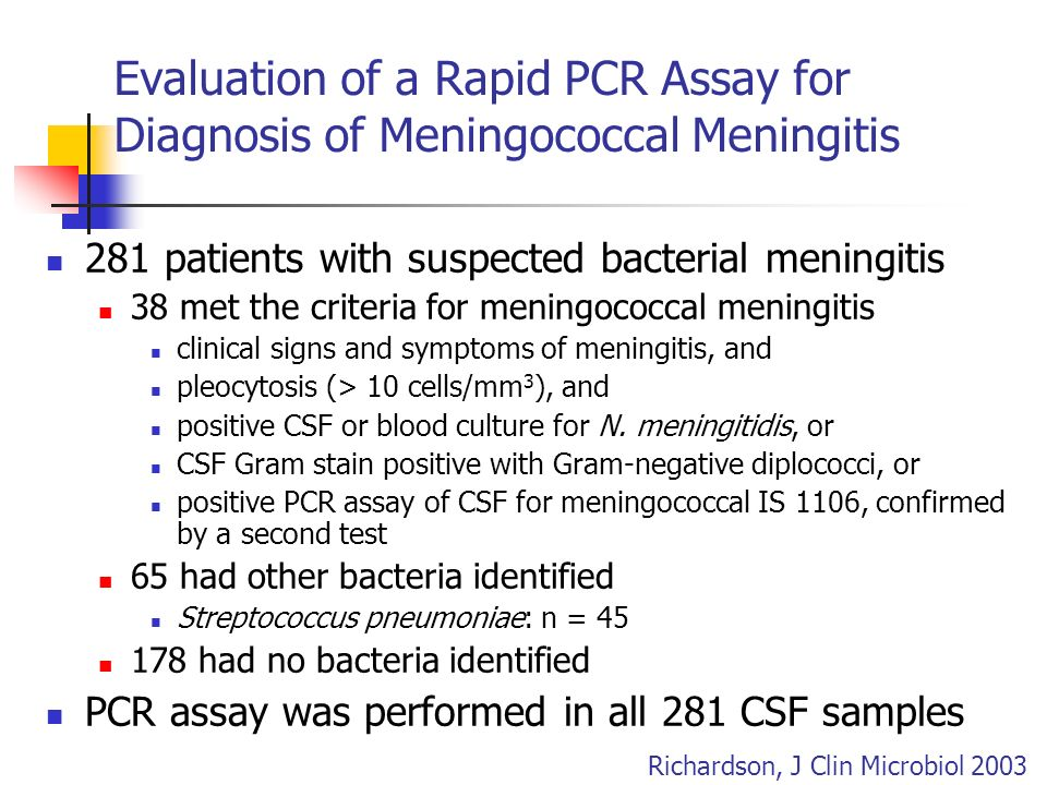 Evaluation of a Rapid PCR Assay for Diagnosis of Meningococcal Meningitis 281 patients with suspected bacterial meningitis 38 met the criteria for men
