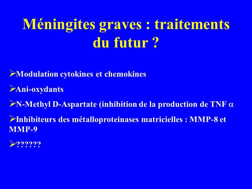 Méningites graves : traitements du futur ? Modulation cytokines et chemokines Ani-oxydants N-Methyl D-Aspartate (inhibition de la production de TNF In