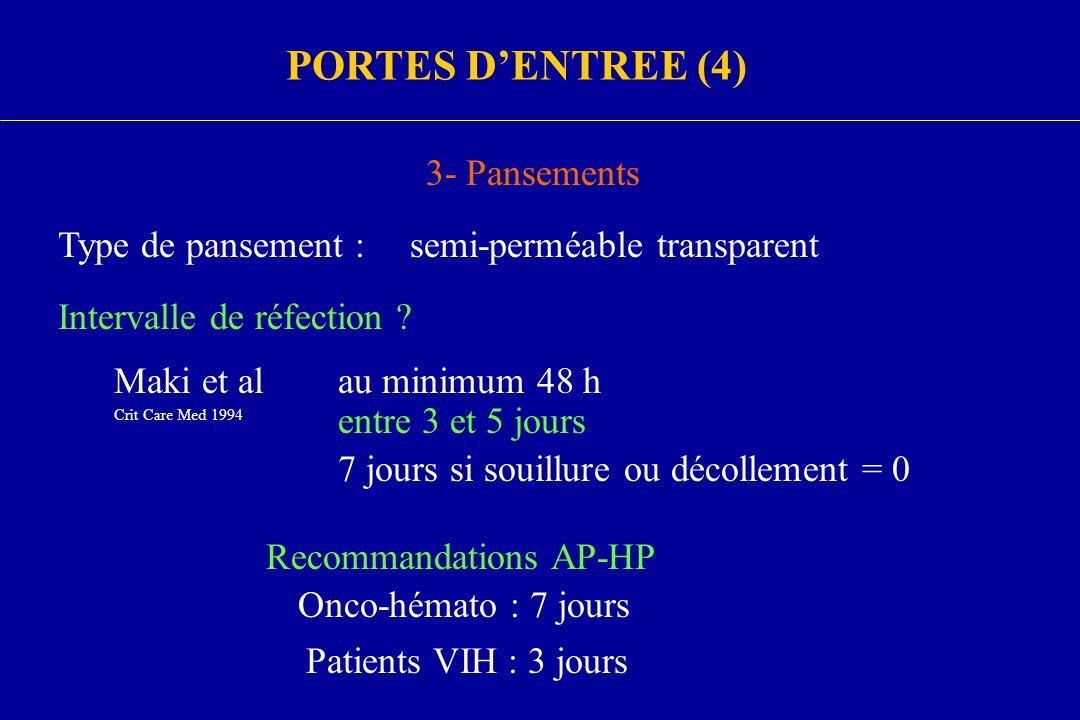 3- Pansements Type de pansement :semi-perméable transparent Intervalle de réfection ? Maki et al Crit Care Med 1994 au minimum 48 h entre 3 et 5 jours