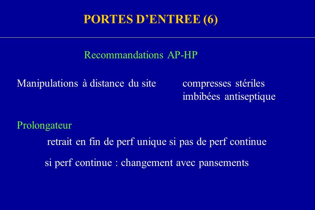 PORTES DENTREE (6) Recommandations AP-HP Manipulations à distance du sitecompresses stériles imbibées antiseptique Prolongateur retrait en fin de perf