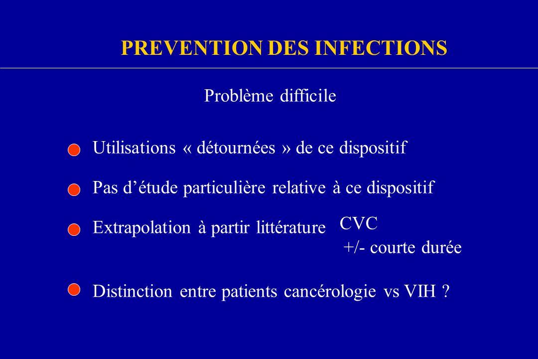 PREVENTION DES INFECTIONS Problème difficile Utilisations « détournées » de ce dispositif Pas détude particulière relative à ce dispositif Extrapolati