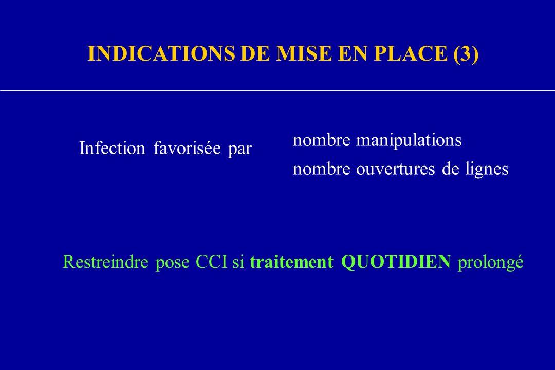 Infection favorisée par nombre manipulations nombre ouvertures de lignes Restreindre pose CCI si traitement QUOTIDIEN prolongé INDICATIONS DE MISE EN