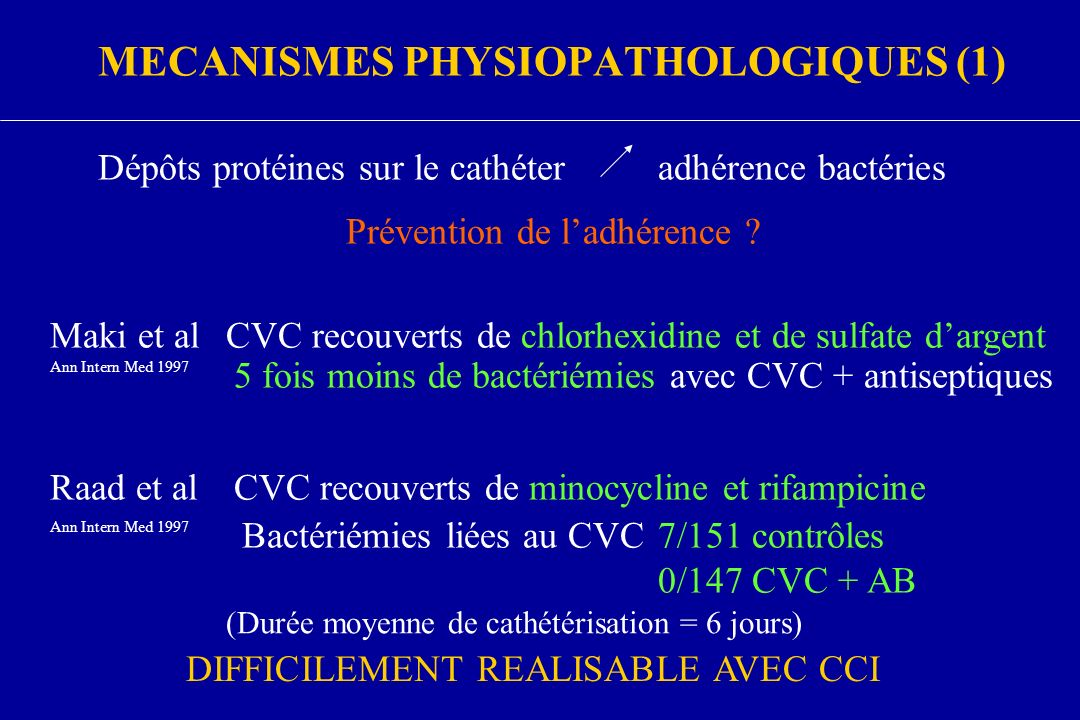 MECANISMES PHYSIOPATHOLOGIQUES (1) Dépôts protéines sur le cathéteradhérence bactéries Maki et alCVC recouverts de chlorhexidine et de sulfate dargent