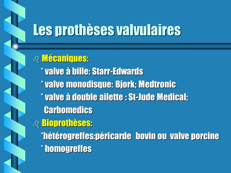 Les prothèses valvulaires b Mécaniques: * valve à bille: Starr-Edwards * valve à bille: Starr-Edwards * valve monodisque: Bjork; Medtronic * valve mon