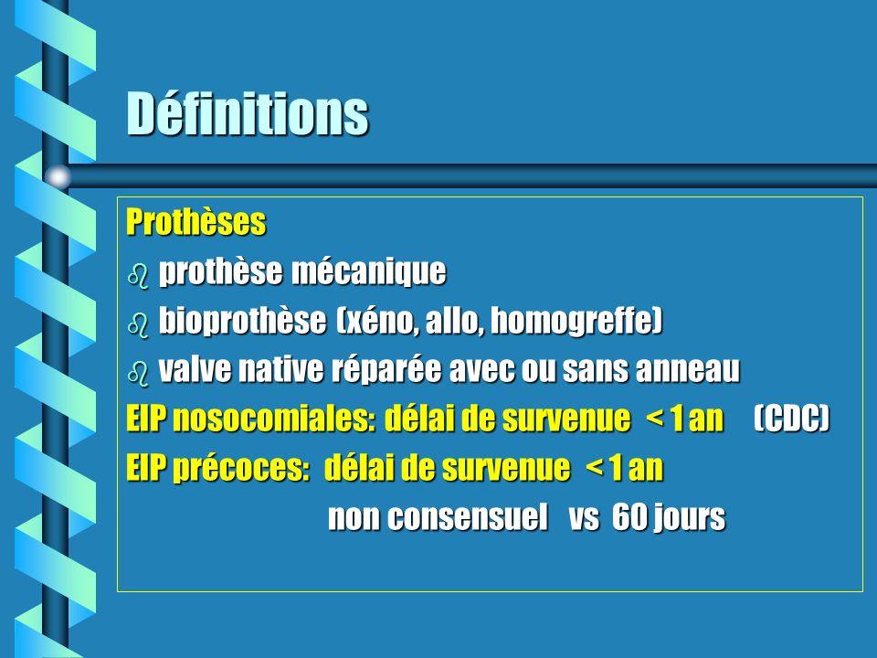 Définitions Prothèses b prothèse mécanique b bioprothèse (xéno, allo, homogreffe) b valve native réparée avec ou sans anneau EIP nosocomiales: délai d
