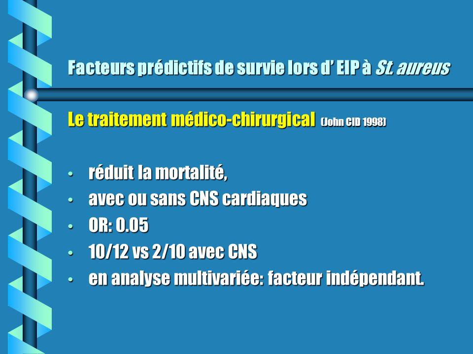 Facteurs prédictifs de survie lors d EIP à St. aureus Le traitement médico-chirurgical (John CID 1998) réduit la mortalité, réduit la mortalité, avec