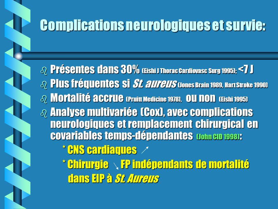 Complications neurologiques et survie: b Présentes dans 30% (Eishi J Thorac Cardiovasc Surg 1995); <7 J b Plus fréquentes si St. aureus (Jones Brain 1