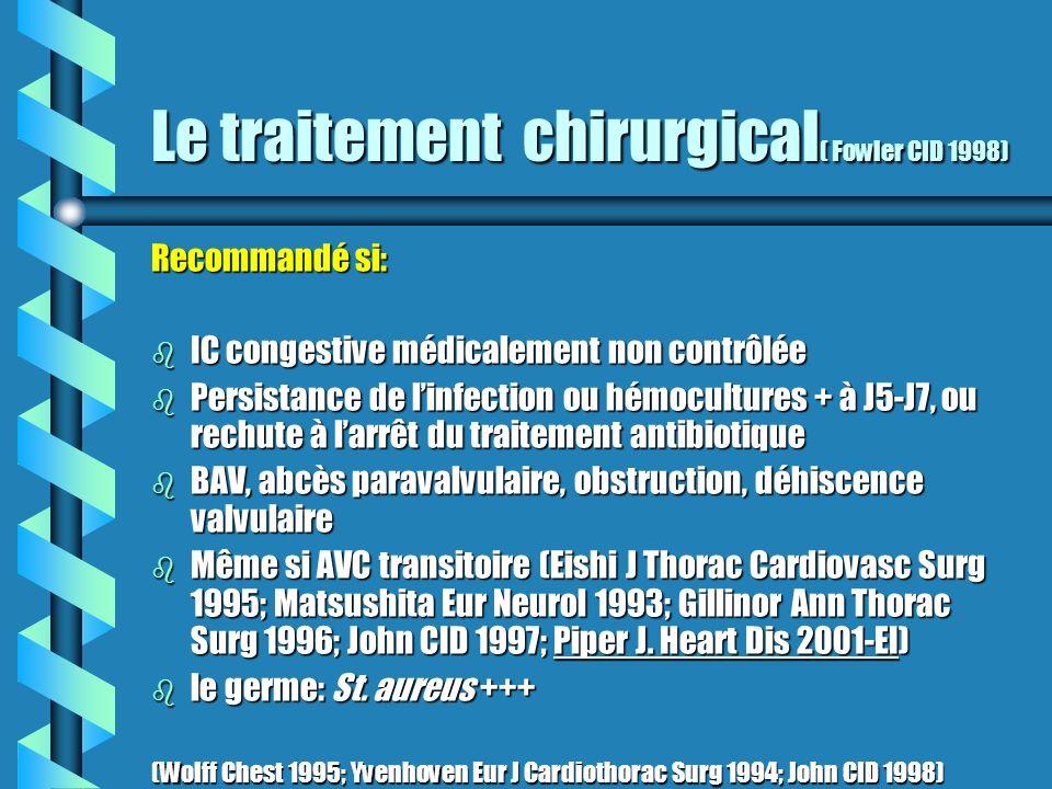 Le traitement chirurgical ( Fowler CID 1998) Recommandé si: b IC congestive médicalement non contrôlée b Persistance de linfection ou hémocultures + à