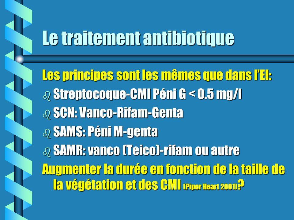 Le traitement antibiotique Les principes sont les mêmes que dans lEI: b Streptocoque-CMI Péni G < 0.5 mg/l b SCN: Vanco-Rifam-Genta b SAMS: Péni M-gen