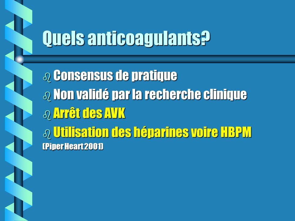 Quels anticoagulants? b Consensus de pratique b Non validé par la recherche clinique b Arrêt des AVK b Utilisation des héparines voire HBPM (Piper Hea