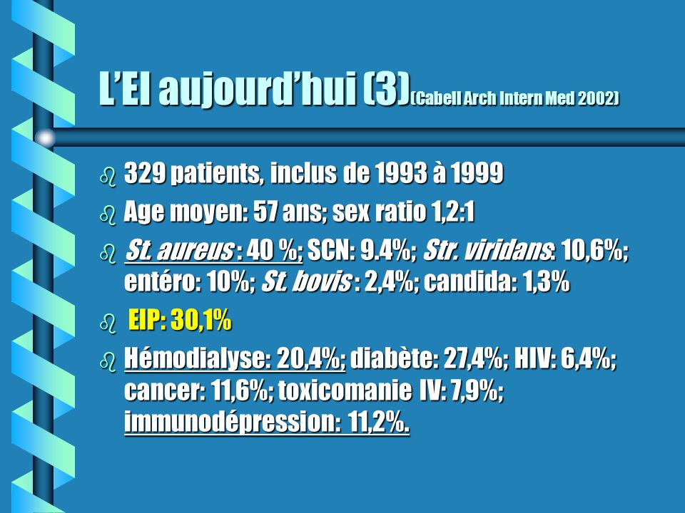 LEI aujourdhui (3) (Cabell Arch Intern Med 2002) b 329 patients, inclus de 1993 à 1999 b Age moyen: 57 ans; sex ratio 1,2:1 b St. aureus : 40 %; SCN: