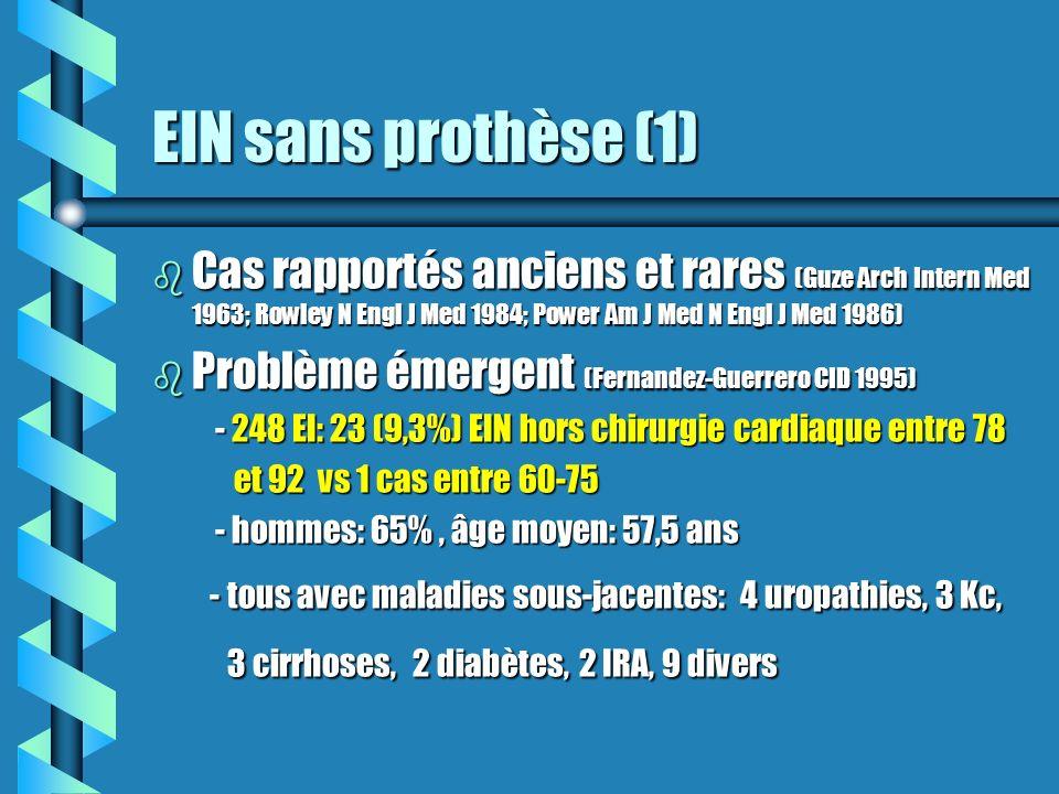 EIN sans prothèse (1) b Cas rapportés anciens et rares (Guze Arch Intern Med 1963; Rowley N Engl J Med 1984; Power Am J Med N Engl J Med 1986) b Probl