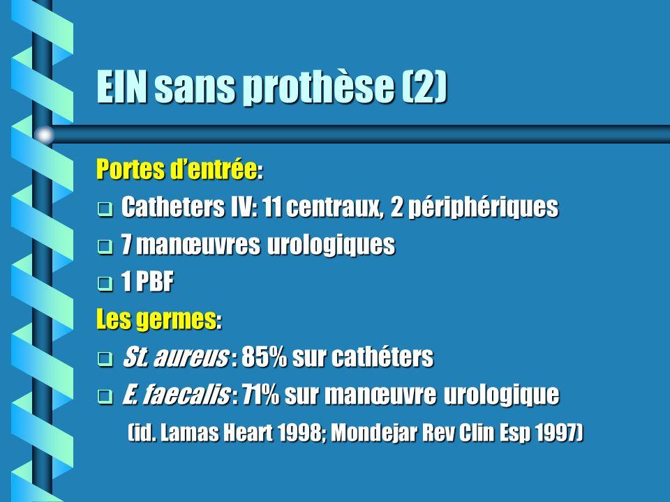 EIN sans prothèse (2) Portes dentrée: Catheters IV: 11 centraux, 2 périphériques Catheters IV: 11 centraux, 2 périphériques 7 manœuvres urologiques 7