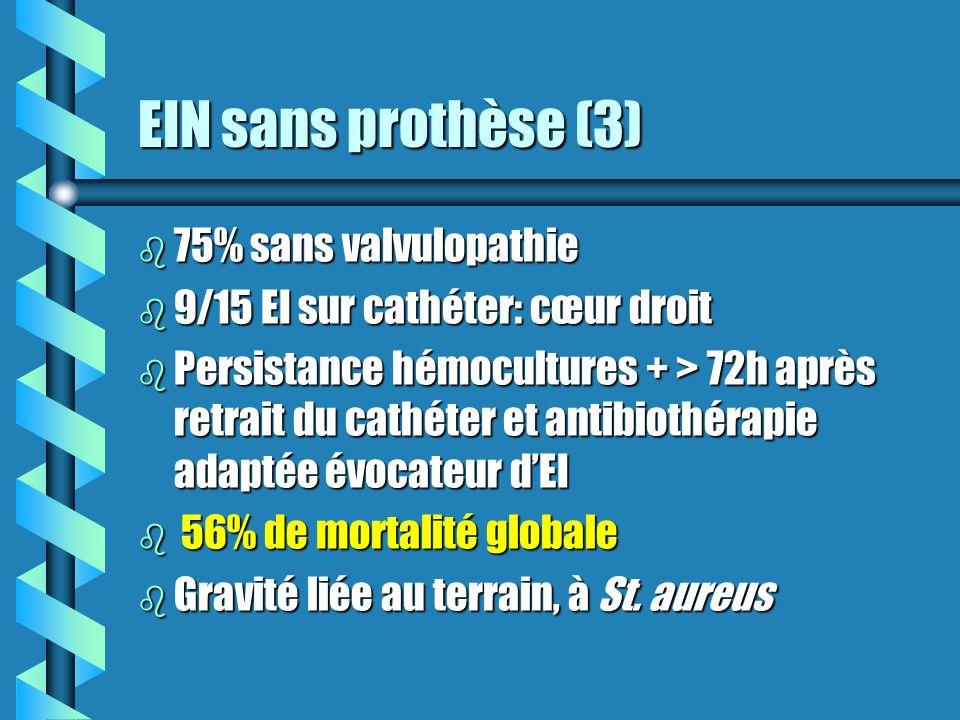 EIN sans prothèse (3) b 75% sans valvulopathie b 9/15 EI sur cathéter: cœur droit b Persistance hémocultures + > 72h après retrait du cathéter et anti