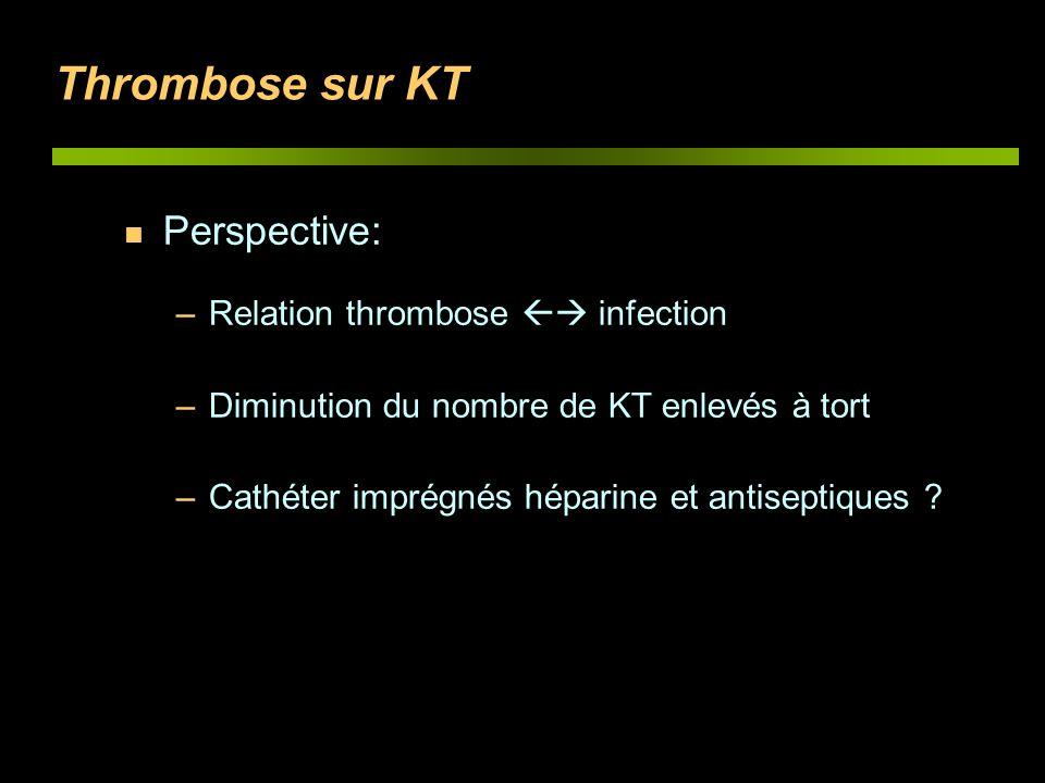 Thrombose sur KT n Perspective: –Relation thrombose infection –Diminution du nombre de KT enlevés à tort –Cathéter imprégnés héparine et antiseptiques