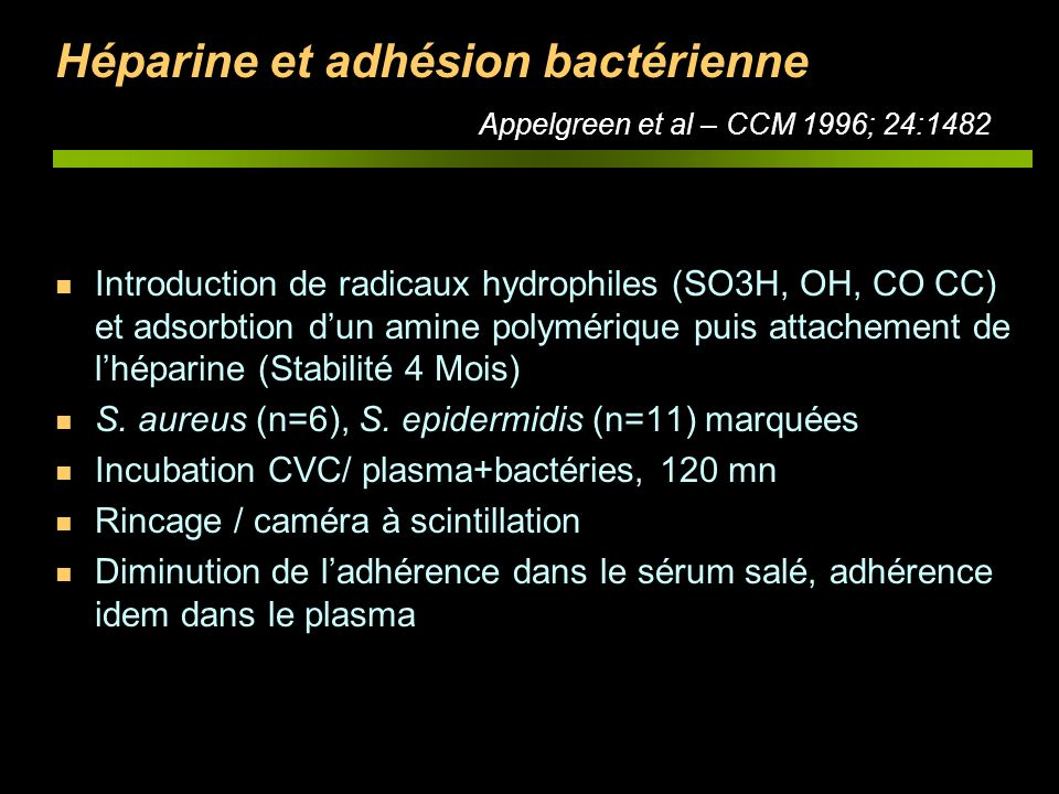 Héparine et adhésion bactérienne Appelgreen et al – CCM 1996; 24:1482 n Introduction de radicaux hydrophiles (SO3H, OH, CO CC) et adsorbtion dun amine